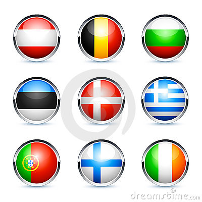 European country flag buttons