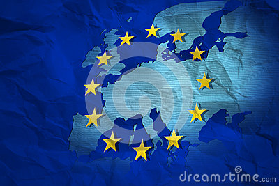 creased map of European Union