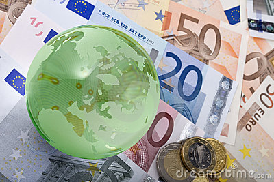 European currency and globe