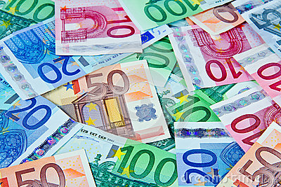European currency notes in euros