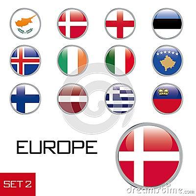 European flag buttons