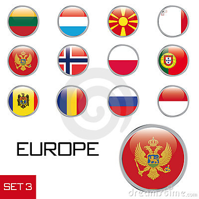 European flag buttons