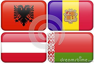 European Flag Buttons: Albania, Andorra, Austria,