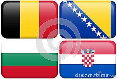 European Flag Buttons: Belgium, Bosnia, Bulgaria,