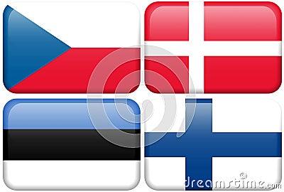 European Flag Buttons: CZ, DK, EST, SF