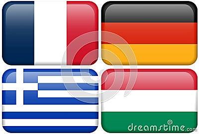 European Flag Buttons: F, D, GR, HUN