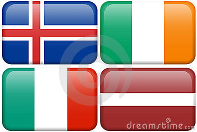 European Flag Buttons: ICE, IRE, I, LAT