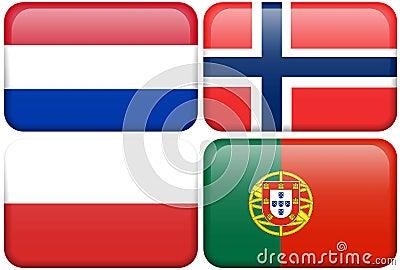European Flag Buttons: NL, N, POL, P