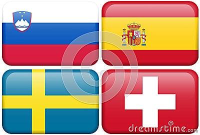 European Flag Buttons: SLOV, ES, S, CH
