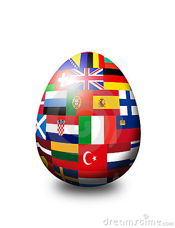 European flag egg  over white