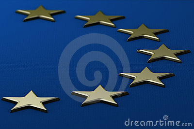 European Flag With Raised Stars