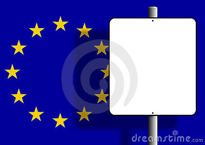 European flag sign post