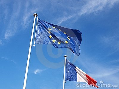 European and French flags