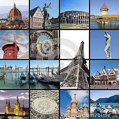 European landmarks collage