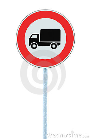 European No Goods Vehicles Warning Sign Isolated