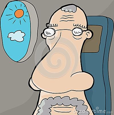 Senior Man on Plane