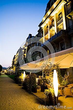 European street cafeteria at night