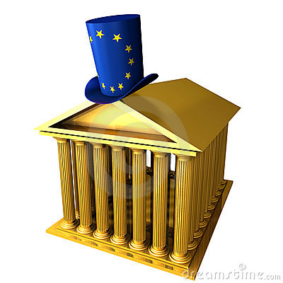 European top hat standing over stocks exchange bui