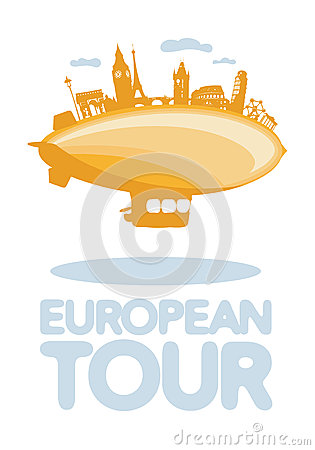 European tour vector symbol.