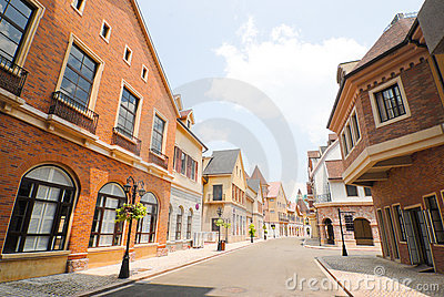European town street in the morning