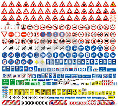 Free European Traffic Signs Collection Royalty Free Stock Photos - 37038068