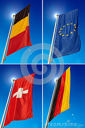 European Union Belgium Germany Switzerland Flags