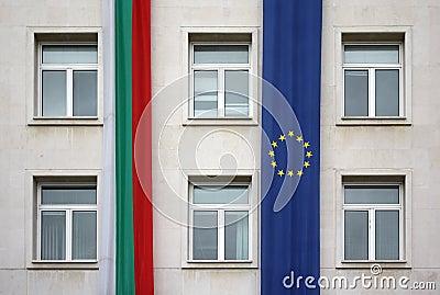 European Union and Bulgaria flags, Sofia