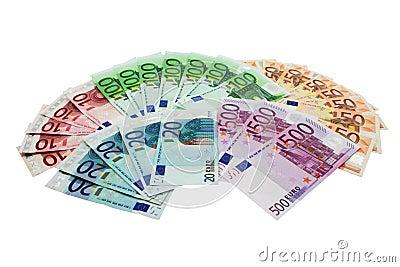 European Union Currency shaped in a fan