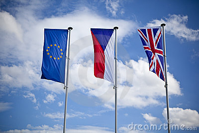 European union, czech and english flag