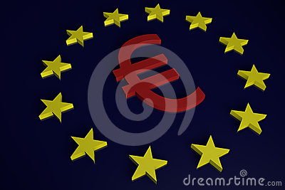 European Union Euro Sign and Stars