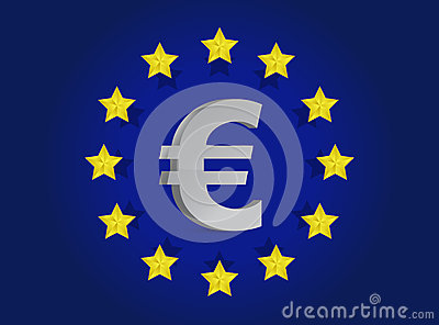 European union flag and euro symbol illustration