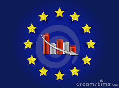 European union flag and falling graph