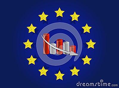 European union flag and falling graph