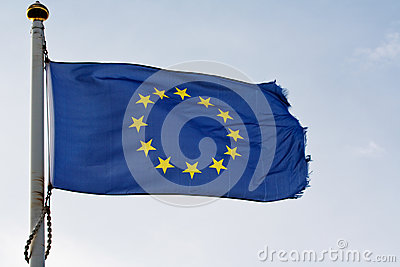 The European union flag on flagpole