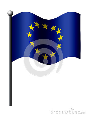 European union flag isolated over white