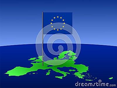 European Union flag on map