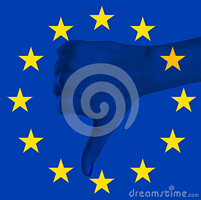 European Union flag with negative hand gesture