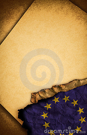 European Union Flag and old paper