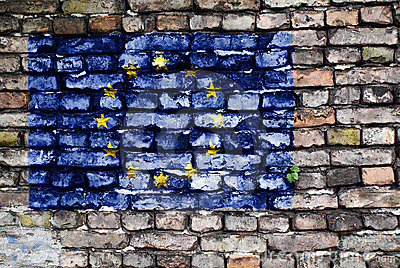 European Union flag painted on old brick wall