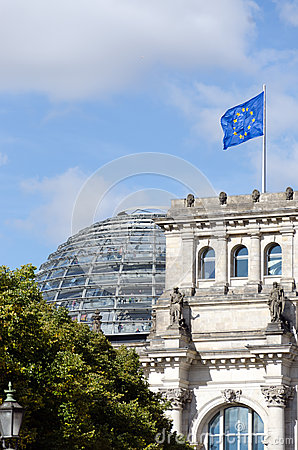 European Union Flag and Reichstag Editorial Photo