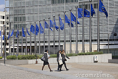European Union Flags in Brussels Editorial Image