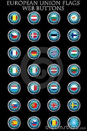 European Union flags buttons