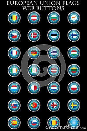 European Union flags buttons