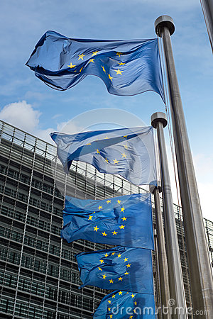 Free European Union Flags In Front Of The Berlaymont Building (Europe Royalty Free Stock Images - 38510959