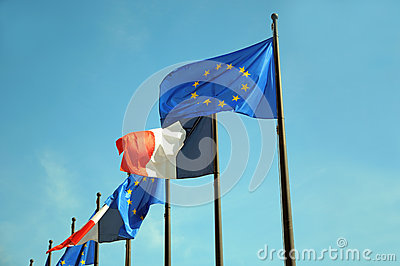European Union and France flags