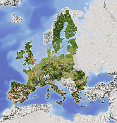 Free European Union, Shaded Relief Map Royalty Free Stock Images - 10514429