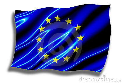 European Union Shiny Flag Waving