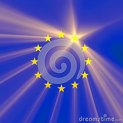 European Union star light flare