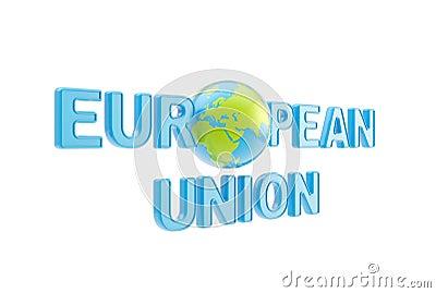 European Union symbol with earth globe