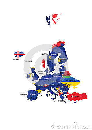 Free European Union Territory Map And Country Names Stock Photography - 34029582